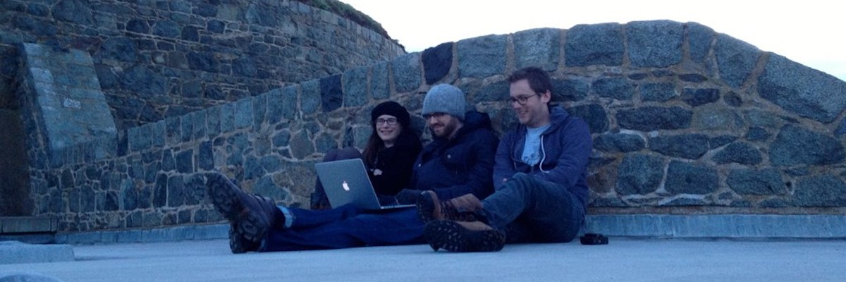 Coding on the battlements. Photo by Chris Govias.